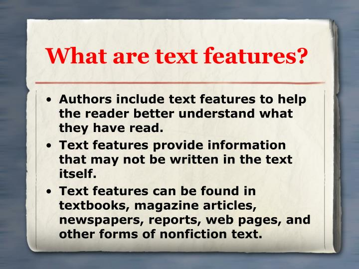 What are text features