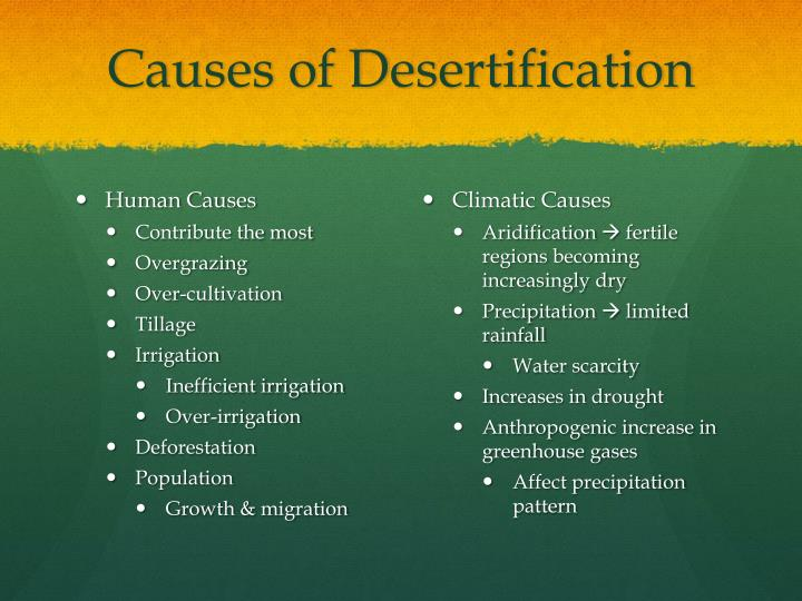 overcultivation overgrazing and deforestation Deforestation, overgrazing, and overcultivation lead to desertification  desertification means that healthy soils are turned into sterile soils, with no organic content, no soil structure  loss of topsoil is a double whammy.