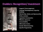 enablers recognition investment