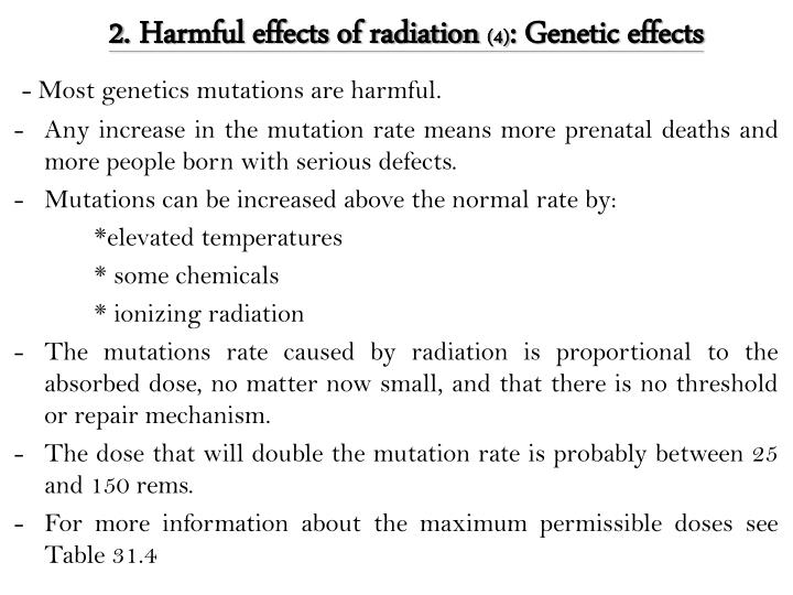 2. Harmful effects of radiation