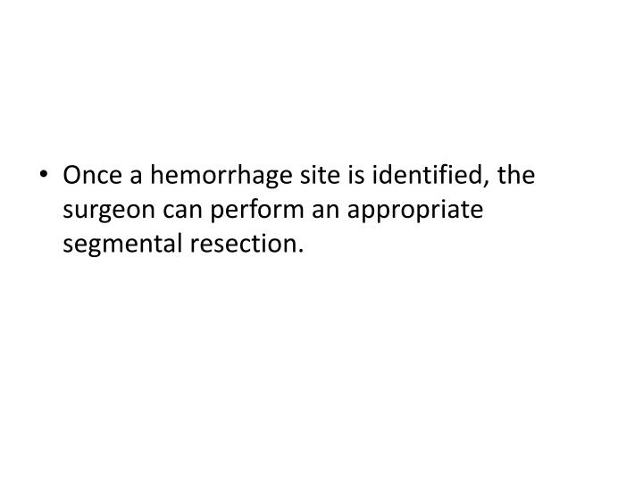 Once a hemorrhage site is identified, the surgeon can perform an appropriate segmental resection.