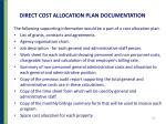 direct cost allocation plan documentation
