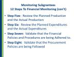 monitoring subgrantees 12 steps to financial monitoring con t