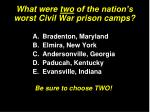 what were two of the nation s worst civil war prison camps
