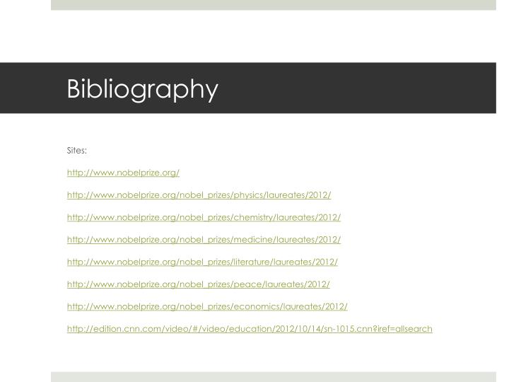 bibliography sites httpwwwnobelprizeorg