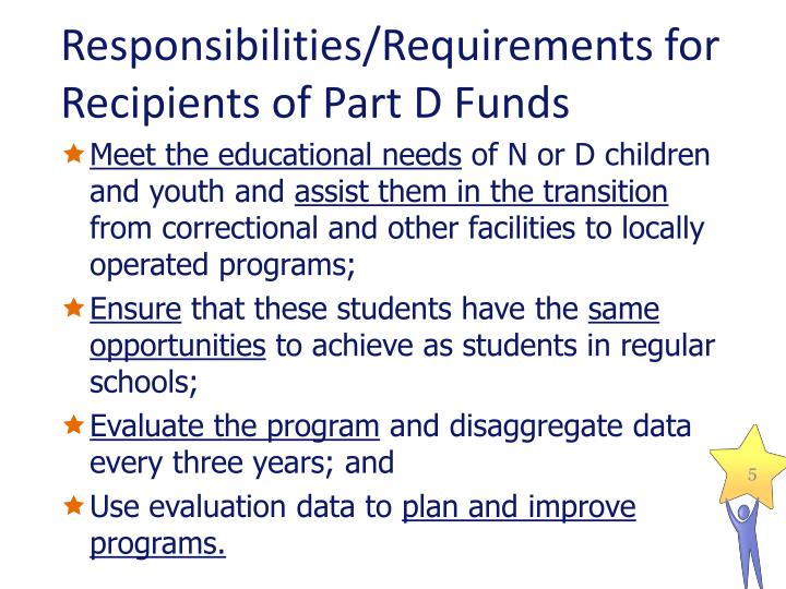 Responsibilities/Requirements for Recipients of Part D Funds