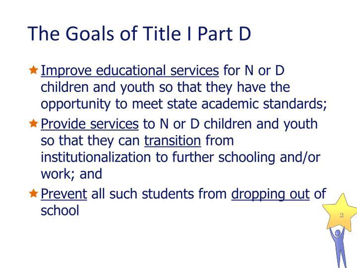 The goals of title i part d