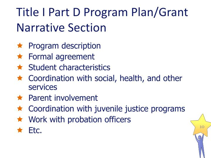 Title I Part D Program Plan/Grant Narrative Section