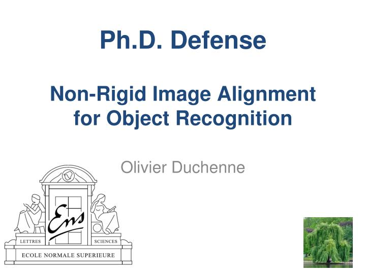 ph d defense non rigid image alignment for object recognition n.