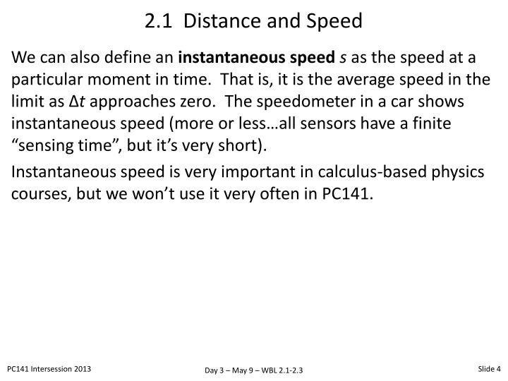 2.1  Distance and Speed