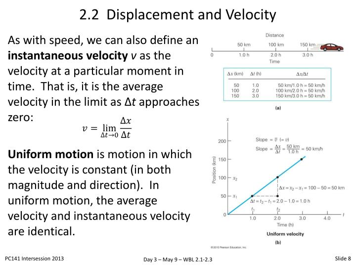 2.2  Displacement and Velocity