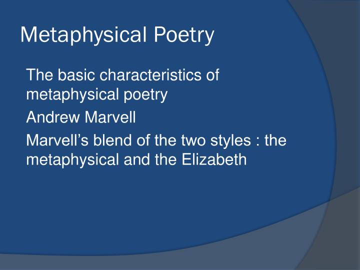 metaphysical poetry examples