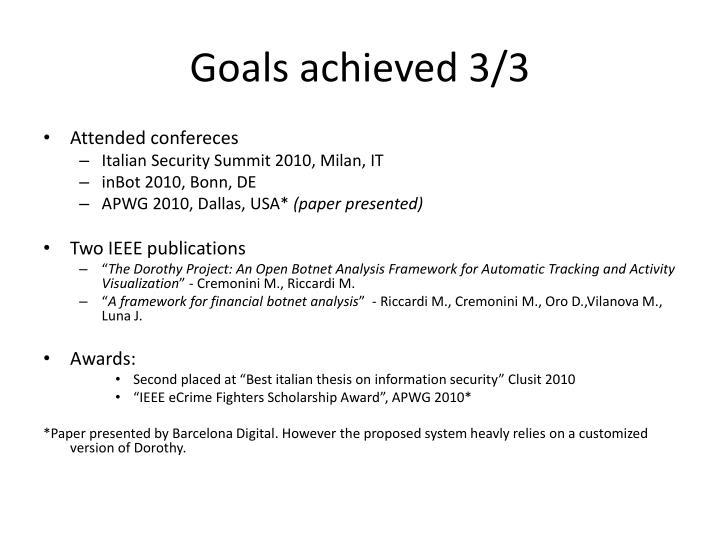 Goals achieved 3/3