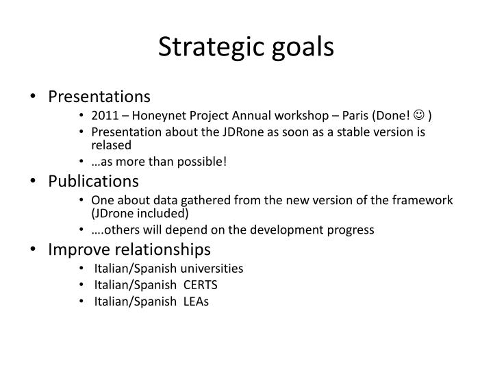 Strategic goals
