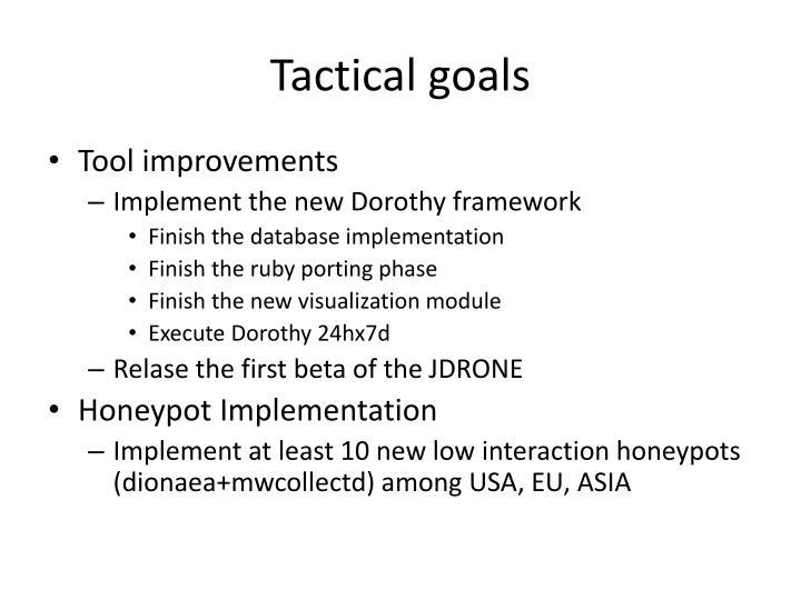 Tactical goals