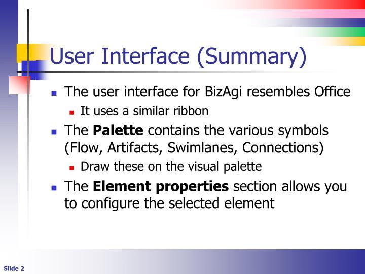User interface summary
