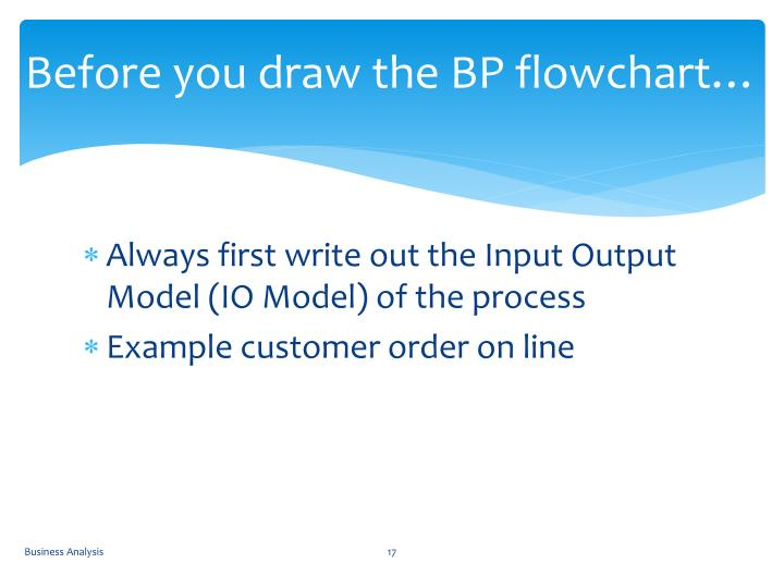 Before you draw the BP flowchart…
