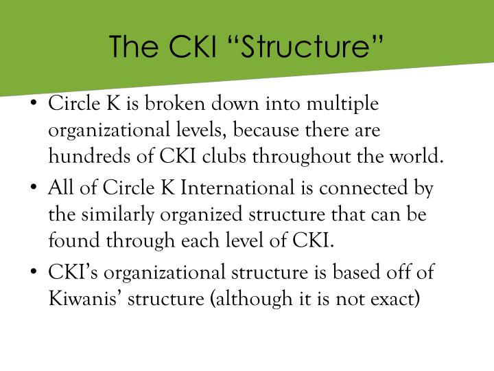 """The CKI """"Structure"""""""