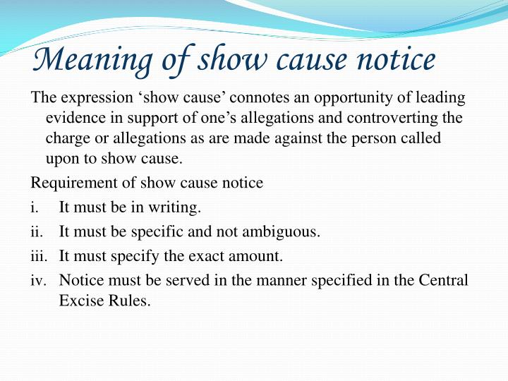 what is the meaning of show cause notice
