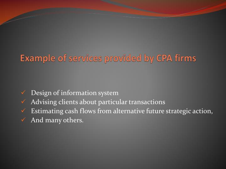Example of services provided by cpa firms