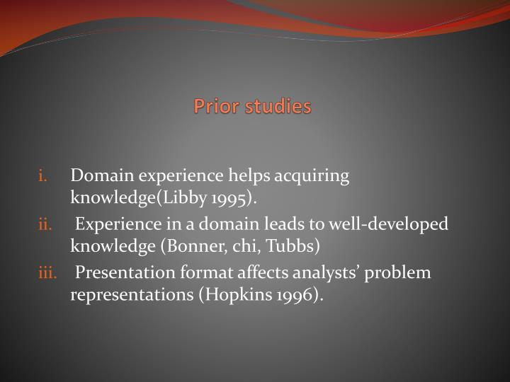 Prior studies