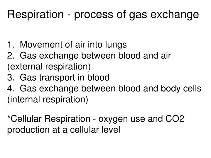 Respiration - process of gas exchange