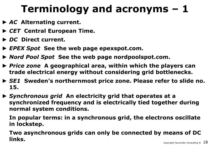 Terminology and acronyms – 1