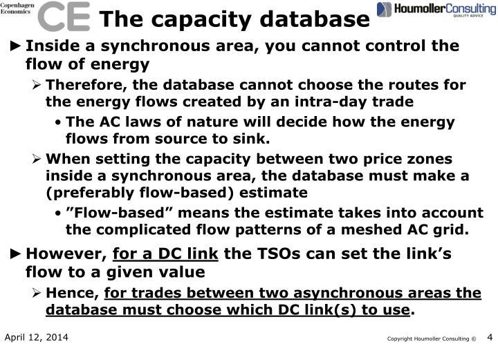 The capacity database
