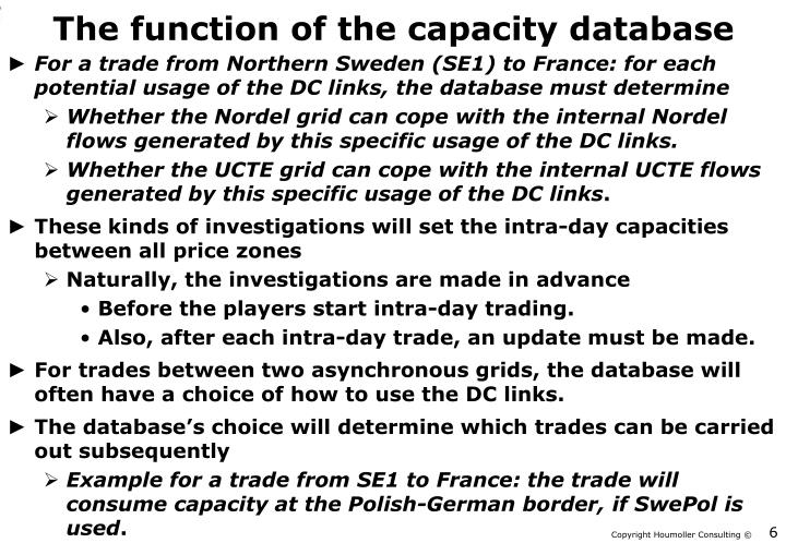 The function of the capacity database
