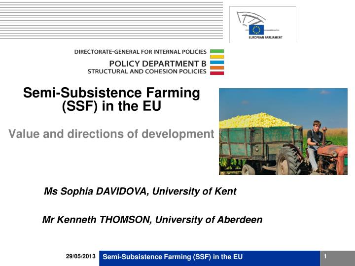semi subsistence farming ssf in the eu n.