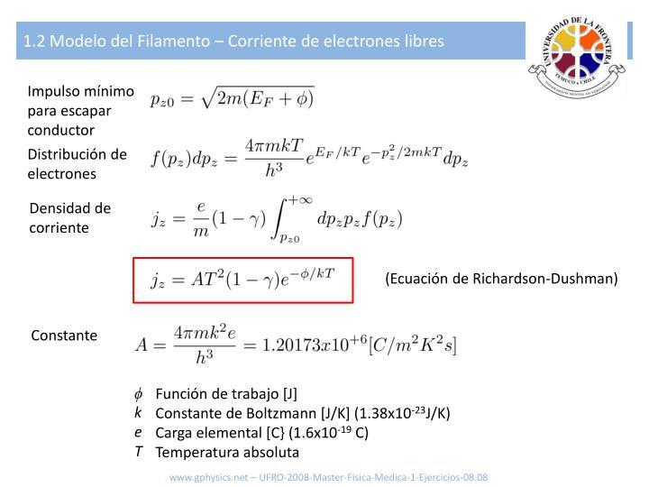 1.2 Modelo del Filamento – Corriente de electrones libres