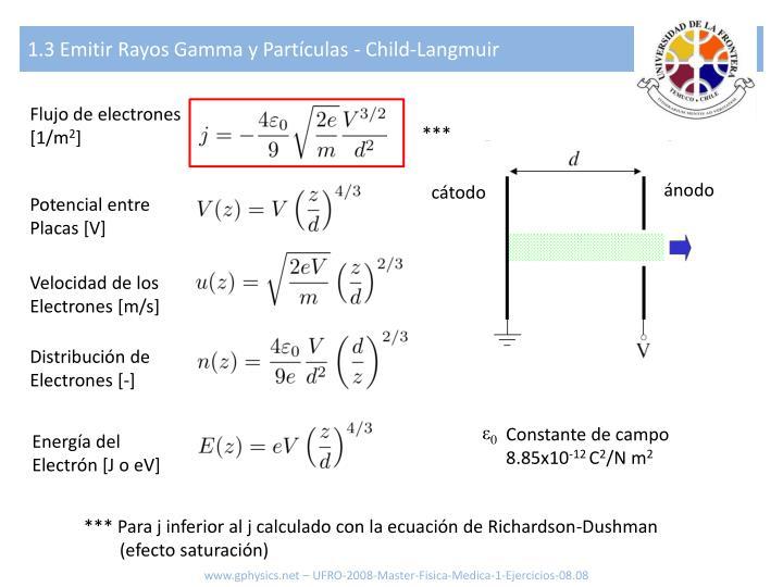 1.3 Emitir Rayos Gamma y Partículas - Child-Langmuir