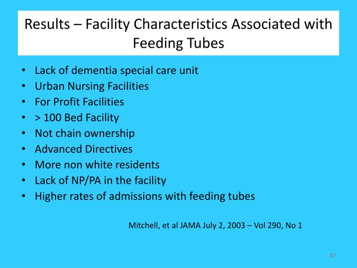 Results – Facility Characteristics Associated with Feeding Tubes