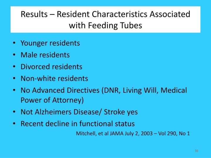 Results – Resident Characteristics Associated with Feeding Tubes