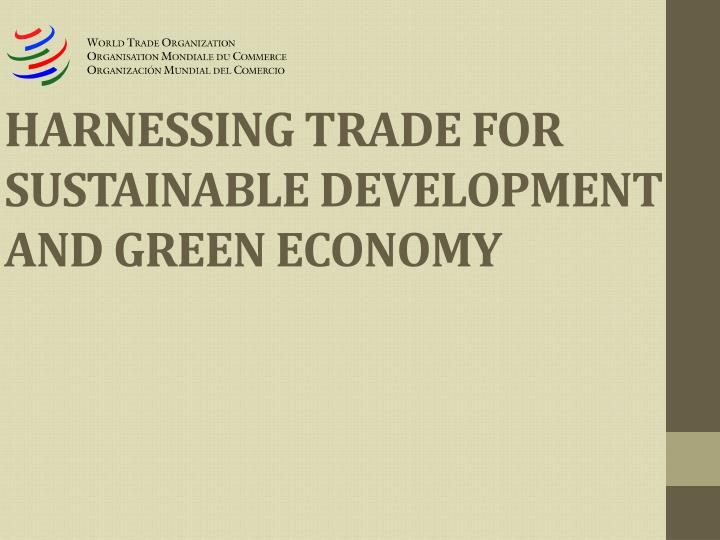 harnessing trade for sustainable development and green economy n.
