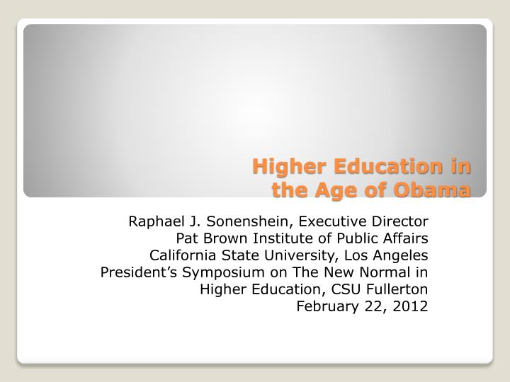 higher education in the age of obama n.