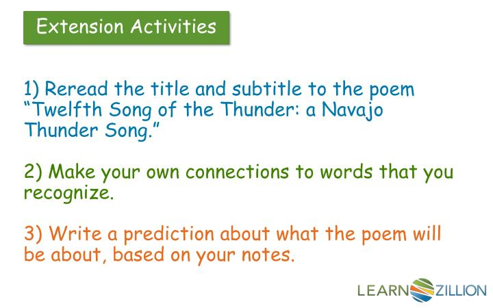 """1) Reread the title and subtitle to the poem """"Twelfth Song of the Thunder: a Navajo Thunder Song."""""""
