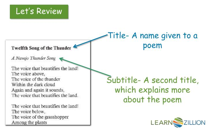 Title- A name given to a poem