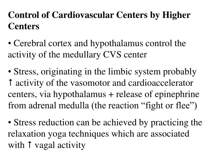 Control of Cardiovascular Centers by Higher Centers