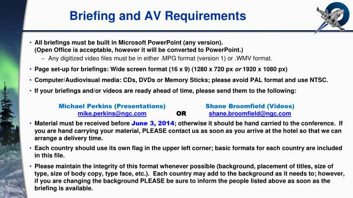 briefing and av requirements n.