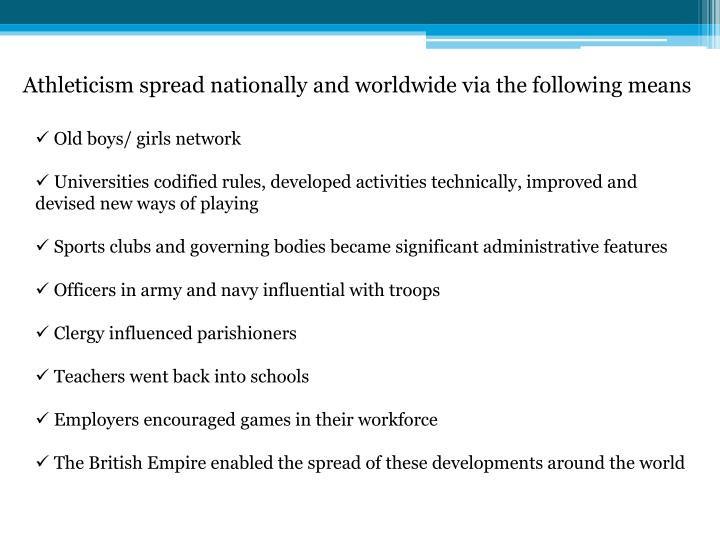Athleticism spread nationally and worldwide via the following means