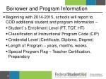 borrower and program information
