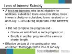 loss of interest subsidy