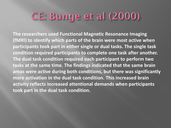 CE: Bunge et al (2000)