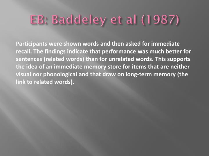 EB: Baddeley et al (1987)