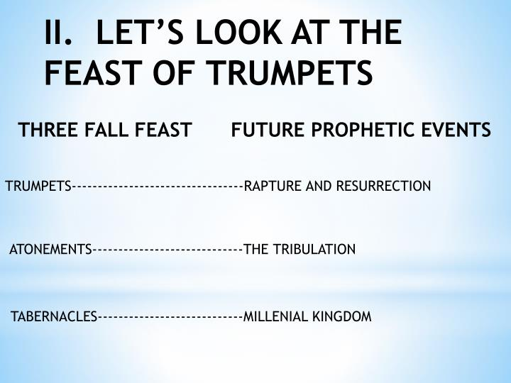 II.  LET'S LOOK AT THE FEAST OF TRUMPETS