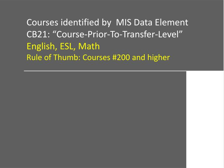 Courses identified by  MIS Data Element
