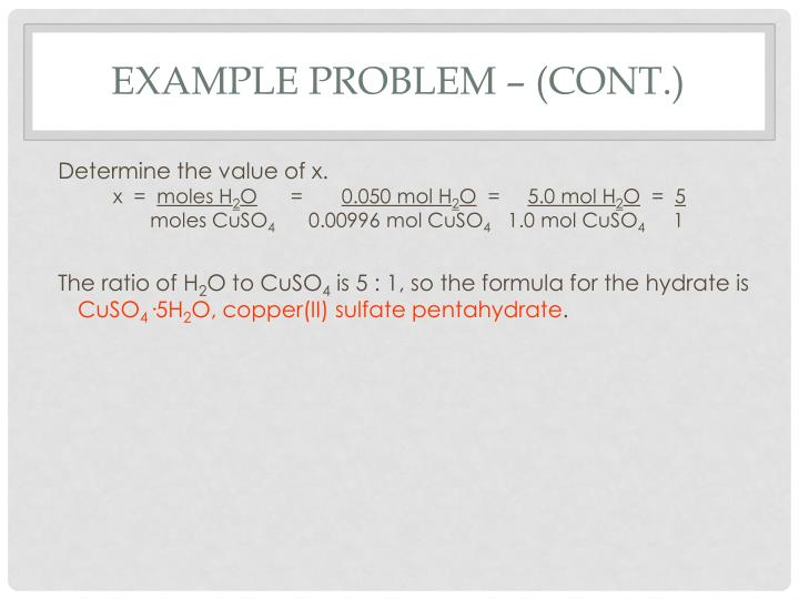 Example Problem – (cont.)
