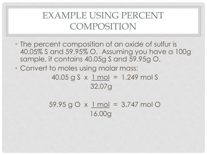 Example Using Percent Composition