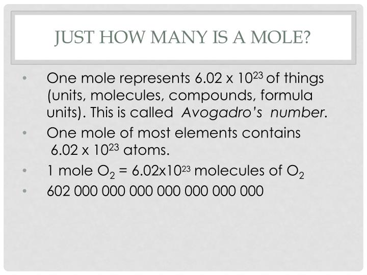 Just how many is a mole?
